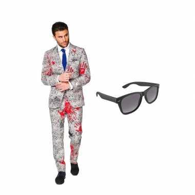 Verkleed zombie net heren kostuum maat (xxxxl) gratis zonnebril carn