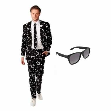 Verkleed zwart sterren print heren kostuum maat (l) gratis zonnebril