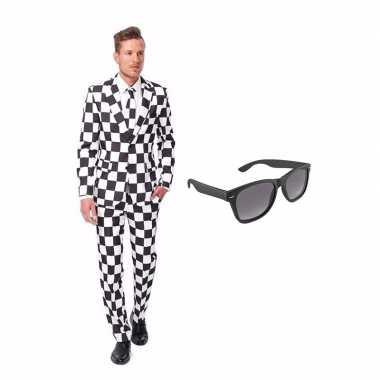 Verkleed zwart/wit geblokt print net heren kostuum maat (xl) gratis