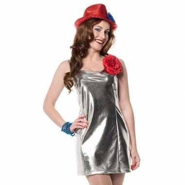 Zilveren dames kostuum jurkjes disco stijl carnaval
