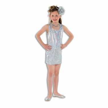 42c01a63eee904 Zilveren glitter kostuum jurkje meisjes carnaval
