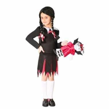 Zwart kostuum jurkje woensdag meiden carnaval