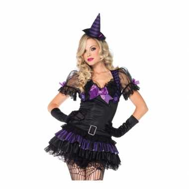 Zwart paars heksen kostuum carnaval