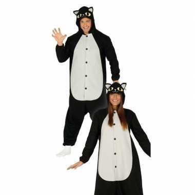Zwarte/witte kat kostuum capuchon heren carnaval