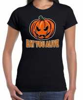 Halloween eat you alive verkleed t kostuum zwart dames carnaval