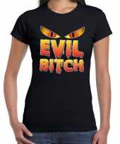 Halloween evil bitch verkleed t kostuum zwart dames carnaval