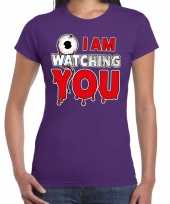 Halloween i am watching you verkleed t kostuum paars dames carnaval
