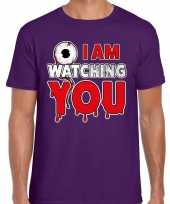 Halloween i am watching you verkleed t kostuum paars heren carnaval