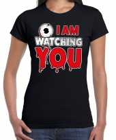 Halloween i am watching you verkleed t kostuum zwart dames carnaval