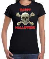 Happy halloween halloween schedel verkleed t kostuum zwart dames carnaval