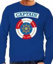 Kostuum kapitein captain verkleed sweater blauw heren carnaval