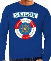 Kostuum zeeman sailor verkleed sweater blauw heren carnaval