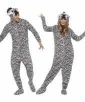 Pyamakostuum zebra dames heren carnaval