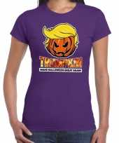 Trumpkin make halloween great again t kostuum paars dames carnaval